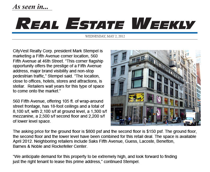560 5TH Real Estate Weekly